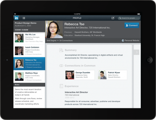 calendar ipad frame 520x400 LinkedIn gets new Android and iOS apps, with a spectacular iPad version