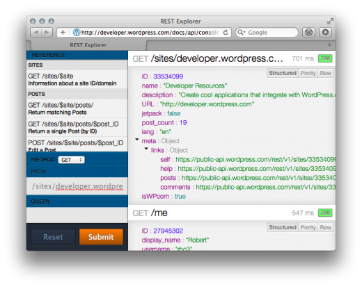 developer console1 520x413 Wordpress.com gets new REST API, opens access to posts, comments, follow, like and more
