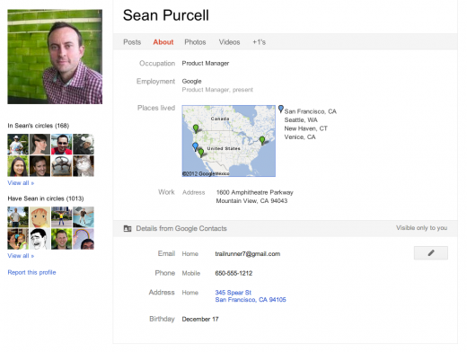 googlepuscontacts 520x392 Google+ Profiles get personal, now includes address book information from Google Contacts