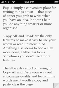pop2 Can an app be TOO simple? We ask the developer of super minimalist writing app Pop