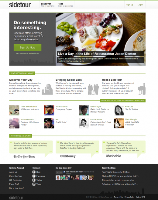 sidetour new homepage 520x660 SideTour, New Yorks peer to peer experience marketplace, unveils its new social platform