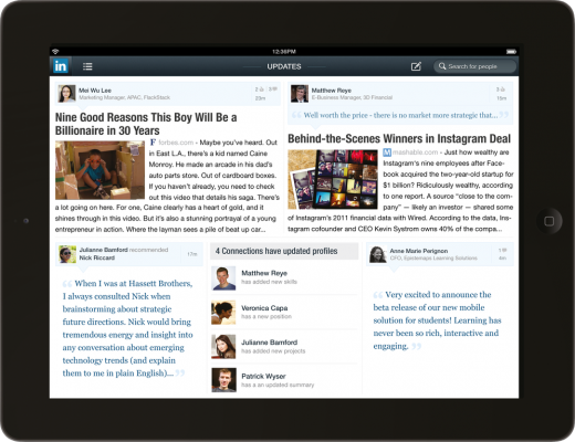 stream ipad frame 520x400 LinkedIn gets new Android and iOS apps, with a spectacular iPad version