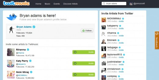tweetmusic invite 520x261 Twitmusic is socializing the Web music industry using Twitter and top artists