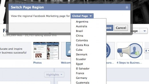 2 Facebook Marketing 1 520x292 Facebook is testing out regional page switching on its own brand pages