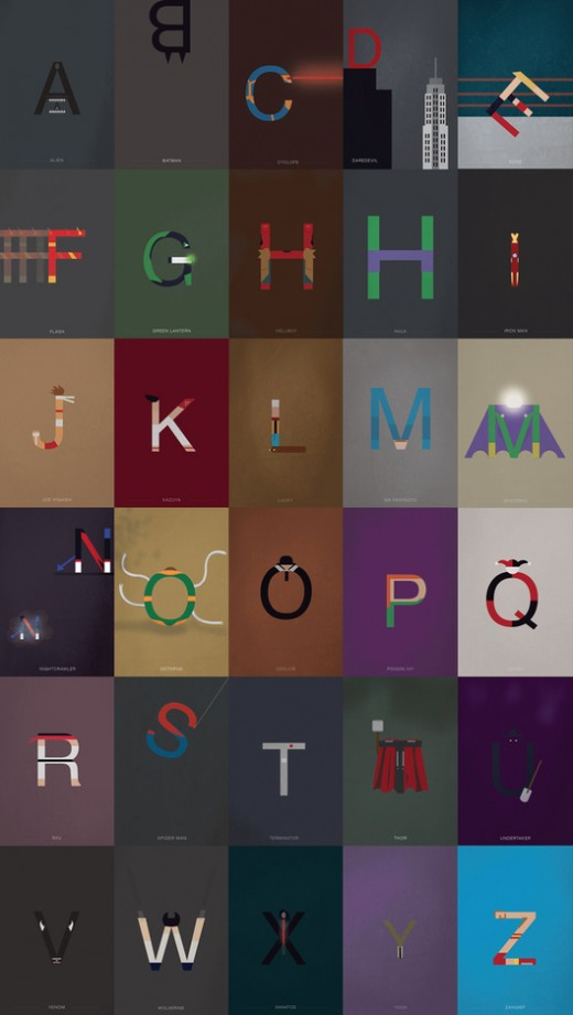 43f454b385fe094ccce283c8a10bbc03 520x921 Type geeks: Heres the entire Helvetica alphabet, turned into super heroes