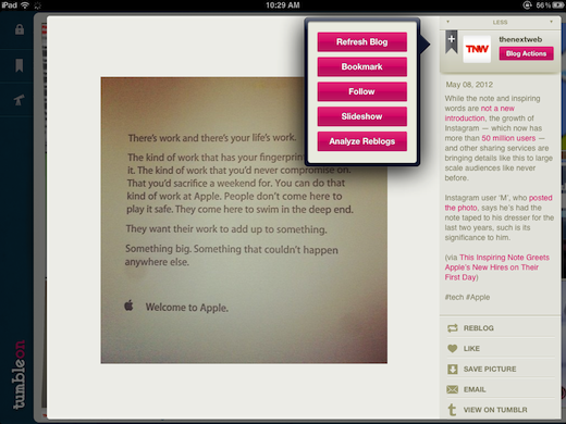 Add TumbleOn gives iPad owners a gorgeous way to browse and share Tumblr photos