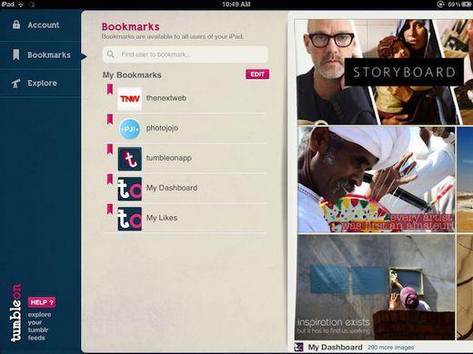 Bookmarks TumbleOn gives iPad owners a gorgeous way to browse and share Tumblr photos