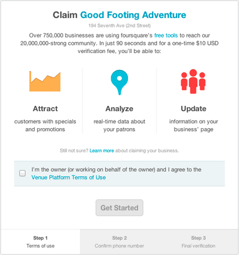 Claim Foursquare announces new $10 verification fee for businesses to claim their venue