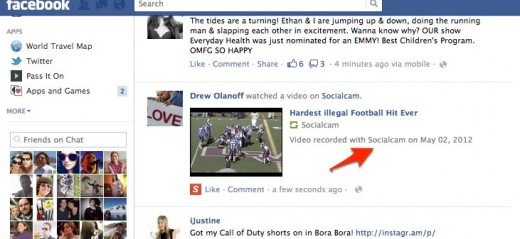 Facebook 3 520x239 Socialcam is pumping popular YouTube videos into its app to drive usage. Smart or seedy?