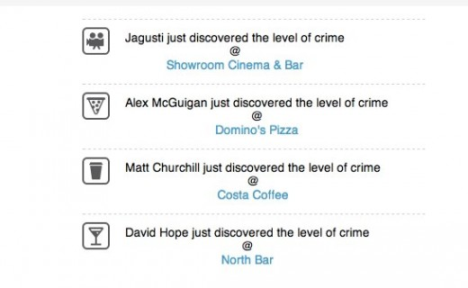 Fearsquare How dangerous are your check ins Police.uk crime stats for your Foursquare check ins 1 520x320 FearSquare alerts UK foursquare users to crime near the venues that they visit often