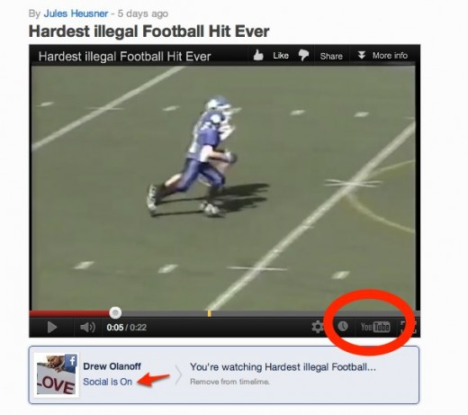 Hardest illegal Football Hit Ever by Jules Heusner on Socialcam May 02 2 520x461 Socialcam is pumping popular YouTube videos into its app to drive usage. Smart or seedy?