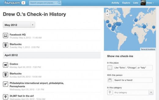 History foursquare 520x328 Foursquare launches a new history page to search all of your past check ins