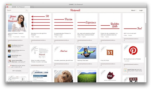 pinterest user turns a pinterest board into a cv