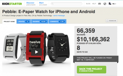 Screen Shot 2012 05 10 at 13.49.19 520x319 Pebble smartwatch tops $10 million in Kickstarter pledges, sells all 85,000 watches
