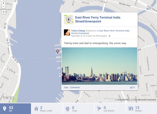 TimelineMap 520x378 Foursquare check ins are now integrated into your Facebook Timeline map