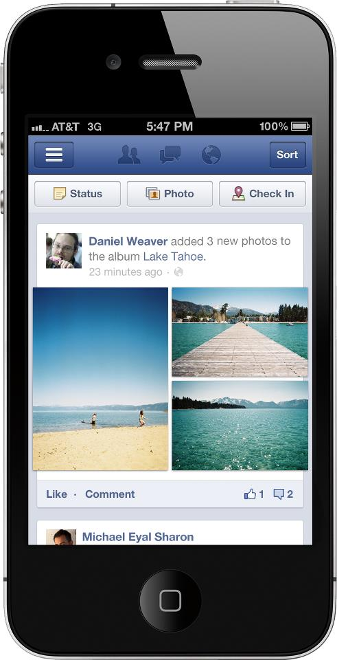 afterfacebook Facebook gives its mobile versions a facelift to better use white space