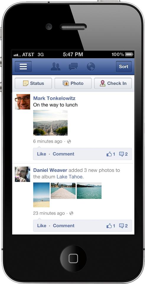 beforefacebook Facebook gives its mobile versions a facelift to better use white space