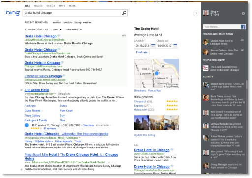 bing1 Bing launches massive redesign, working with data from Quora, Foursquare, LinkedIn, Google+ and more