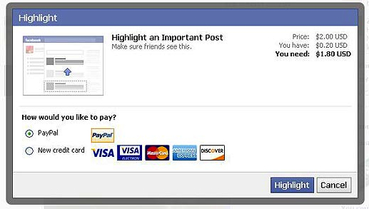 facebook highlight status updates1 Facebook is turning social relationships into a game, with Highlight you can pay to play