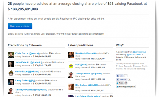 fb predictions1 520x316 This neat site lets you challenge the pundits and predict Facebooks IPO closing price