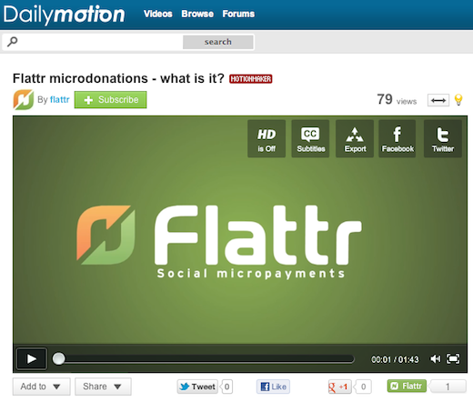 flattrr Social micro payments startup Flattr strikes deal with online video giant Dailymotion