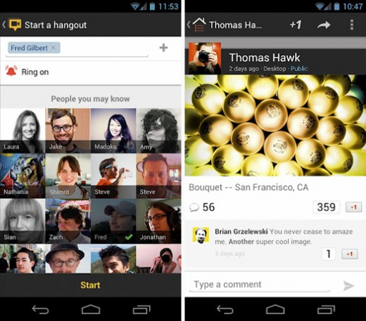 googleplus 520x457 Google+ for Android update makes shared media look better, adds support for mobile Hangouts