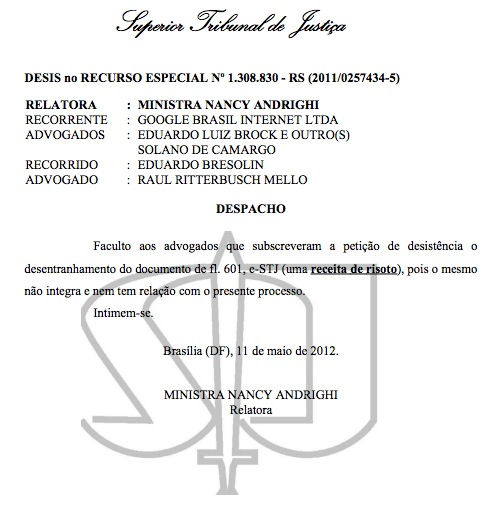 stj document risotto Google sued in Brazil, lawyers answer with risotto recipe