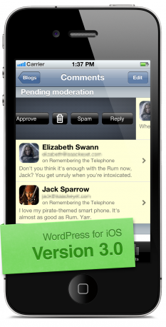 wordpress ios 3 0 swipe to moderate WordPress releases version 3 for iOS, featuring push notifications, new toolbar, improved performance