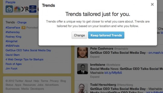 20 Twitter   Search  GetGlue CEO Talks Social Media Day  1 520x296 Twitter has completely missed the mark with its Tailored Trends tweak