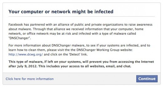 601617 10150825239431886 779104979 n 520x279 Facebook to help those infected with DNSChanger clean up their computer before July 9th