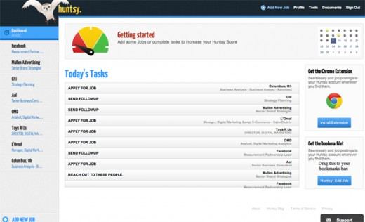 9376b huntsy dashboard 520x316 Huntsy, a dashboard for finding your dream job, passes 10K registered users in 2 months