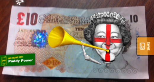 BlippMoney 520x278 Paddy Power and Blippar bring the Queen to life on £10 notes...just in time for Euro 2012