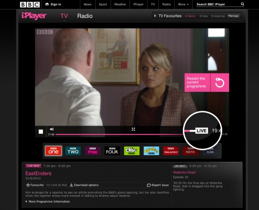EastEnders Live alt2 520x423 You can now rewind and restart live TV on the BBC iPlayer