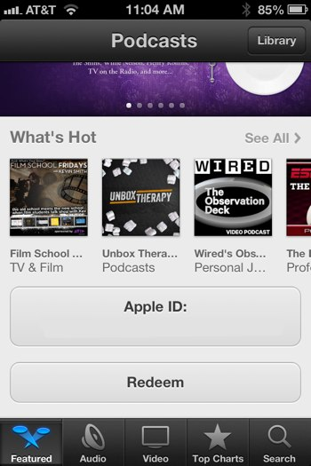Photo Jun 26 11 04 40 AM Redeem button in new Podcasts app for iOS points to possibility of paid podcasts