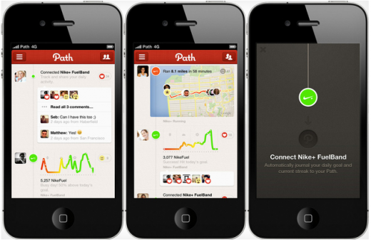Screen Shot 2012 06 29 at 14.14.52 520x337 Path now lets you share your Nike+ Fuel score with new Fuelband support