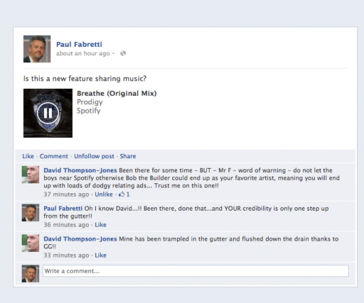 Screen shot 2012 06 13 at 10.22.23 520x433 Facebook begins testing new Share Music feature in News Feed Share box