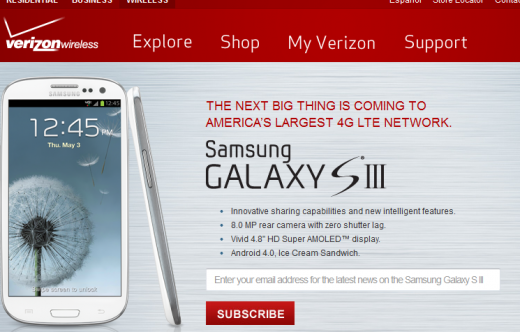 Screenshot 1 520x332 Samsung Galaxy S3 available in the US on T Mobile from June 21, Verizon on pre order from June 6