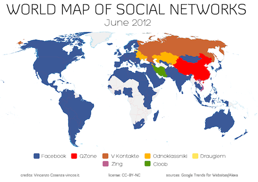WMSN0612 1024 Facebook is eating the world, except for China and Russia: World map of social networks