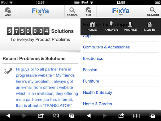 fixyascreens FixYa announces 24 million monthly users as it rolls out its HTML5 Q&A site for mobile users