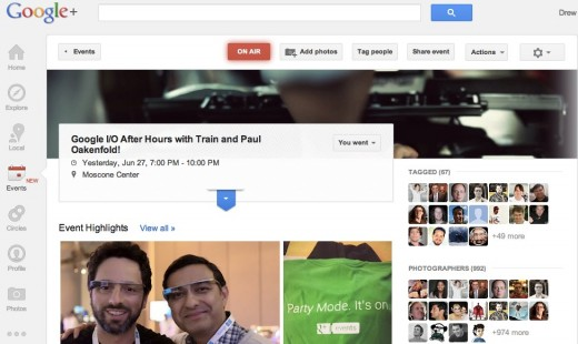 googleioafterparty 520x310 Over 13K photos were shared by 1K people with Party Mode using Google+ Events last night