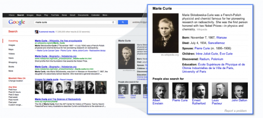 marie curie1 520x234 1 Bing challenges Googles Knowledge Graph with new Britannica Encyclopedia partnership