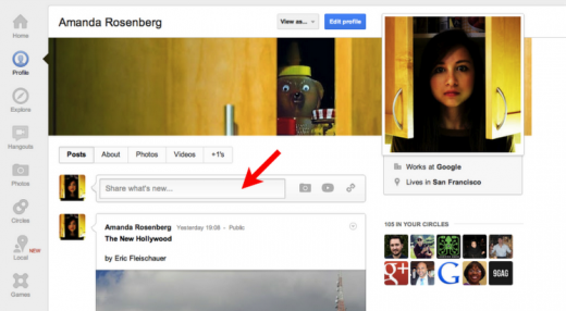 profilesharebox 520x286 Google+ gets some updates on profile pages, including posting from your own