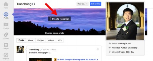 repositioncoverphoto 520x208 Google+ gets some updates on profile pages, including posting from your own