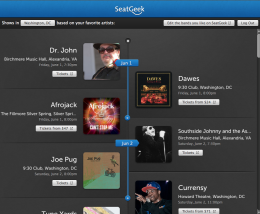 seatgeek 520x428 SeatGeek launches Spotify App for concert discovery