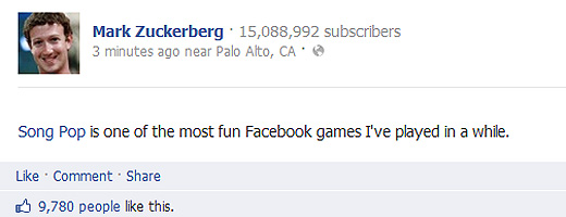 songpop Song Pop gets the official Zuckerberg endorsement, but can it avoid Draw Somethings fate?