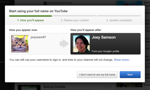 v7 25 520x312 If you want to ditch your YouTube username, you can now use your Google+ profile instead