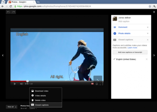 video Gplus 520x371 Subtitles and captions can now be added to videos on Google+