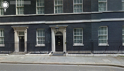 10520 10 Downing Street on Google Street View. Check out the UK Prime Ministers front door