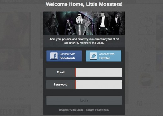 Backplane littlemonsters.com  520x371 Lady Gagas social network Little Monsters opens its doors to everyone