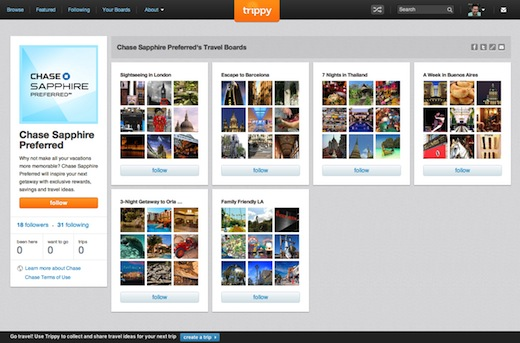 Chase profile Trippy, the Pinterest for travel, launches brand pages and partners up with Chase and Hilton